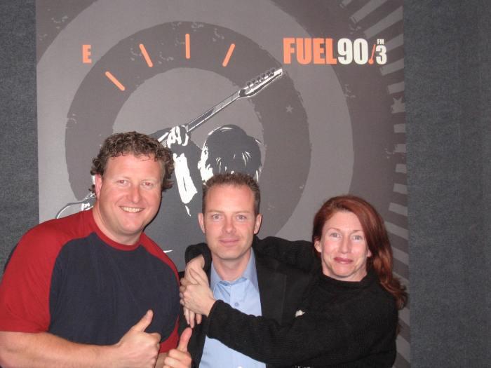 Radio personality BJ, Millionaire Mentor Douglas Vermeeren and radio personality Frazier of FUEL 90.3FM
