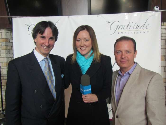 John Demartini and Douglas Vermeeren being interviewed for The Gratitude Experiment by Lisa Wolansky of ShawTV
