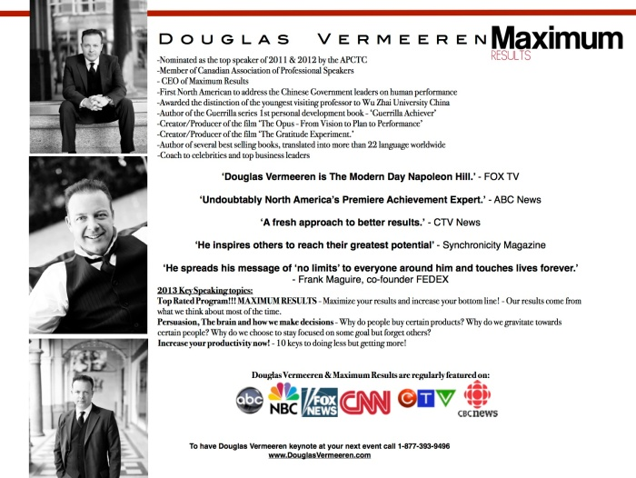 Maximum Results with Douglas Vermeeren one sheet