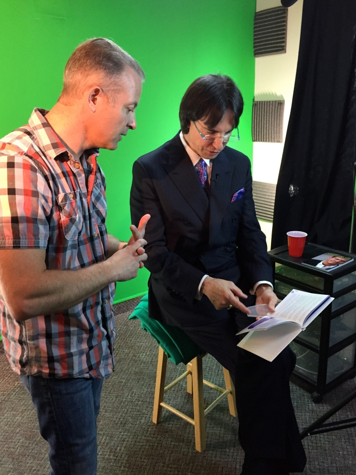 John Demartini and Director douglas Vermeeren on the set of The Treasure Map